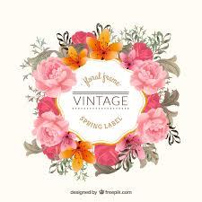 vintage floral frame vector free download