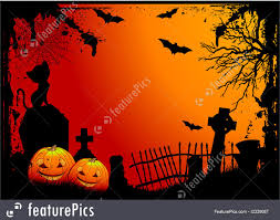 red halloween background illustration of halloween cemetery