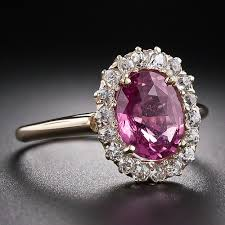 diamond pink rings images Pink sapphire ring in oval cut with 14k yellow gold 2 90 carats jpg