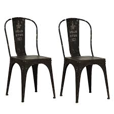 Black Metal Chairs Outdoor Black Metal French Words Chairs Pair