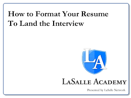 lasalle academy resume workshop