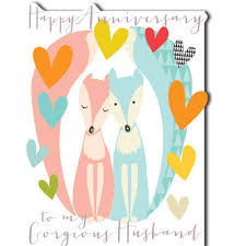 Happy Wedding Anniversary Cards Pictures To My Gorgeous Husband Happy Anniversary Card Karenza Paperie