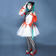 anime costumes for halloween vocaloid diva hatsune miku piero ver cosplay costume red fancy
