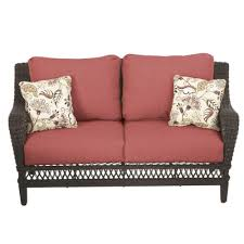Wicker Patio Furniture Cushions - hampton bay woodbury all weather wicker patio loveseat with chili