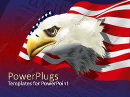 powerpoint template bald american eagle with american flag over
