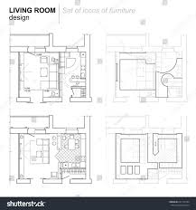 layout of floor plan architectural plan layout apartment furniture drawing stock vector