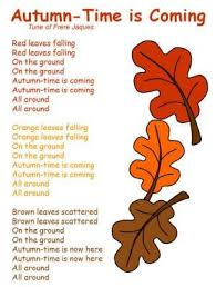 autumn time is coming song fall songs literacy and