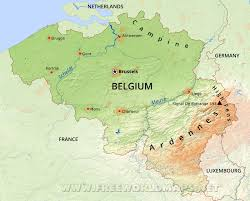 map of begium belgium physical map