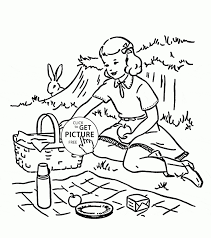 picnic drawing for kids drawing sketch picture
