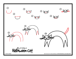 how to draw a halloween cat halloween cat step by step how to