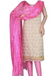 buy cream and pink combination phulkari tissue salwar suit