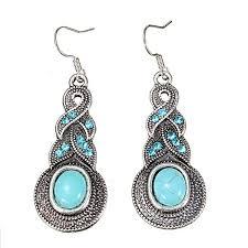 turquoise drop earrings retro tibetan silver oval turquoise drop earrings women at