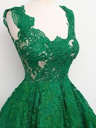 design emerald green lace cocktail dresses 2017 knee length u neck