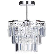 vasca crystal bar bathroom chandelier semi flush chrome
