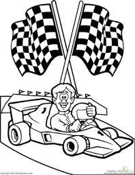 color the race car driver worksheet education com
