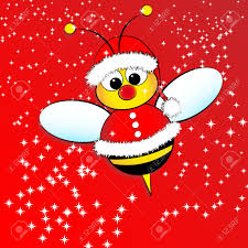 christmas card for kids with a santa claus bee royalty free