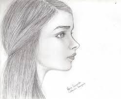 drawn profile female face pencil and in color drawn profile