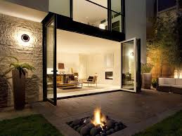 amazing modern backyard design with stone fire pit patio and cozy