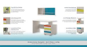 B O Schreibtisch Grau Kinderzimmer Komplett Set D Peter 2 Teilig Farbe Kiefer Weiß