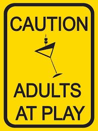 caution adults at play original metal sign company