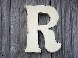 wooden letters r 12 antique white distressed rustic