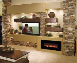 dramatic rustic style custom media wall with natural stone