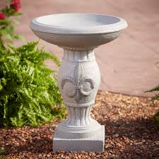 essential garden fleur de lis birdbath outdoor living outdoor