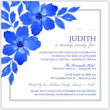 royal blue formal 75th birthday party invitation 75th birthday