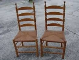 old maple chairs with woven rush seats