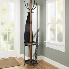 17 stories andreas wood and metal coat rack with umbrella stand