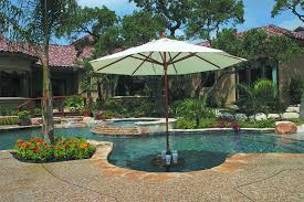 swimming pool table set with umbrella building a custom swimming pool keith zars pools in umbrella holder