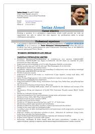 career objective for mechanical engineer resume cv imtiaz ahmed