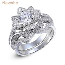 wedding rings flower images Buy newshe 2 2 ct flower wedding ring set solid jpg