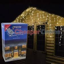 premier outdoor led icicle lights blue white or multi