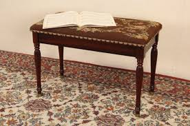How Tall Is A Piano Bench Sold Piano Bench 1940 U0027s Vintage Needlepoint Upholstery Harp