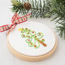 embroidered christmas christmas tree embroidery loganberry handmade