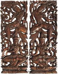 traditional thai figure carved wood wall decor panels asian home