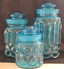 colored glass kitchen canisters 3 vintage l e smith moon and blue canisters ebay vintage