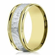 mens two tone gold wedding bands 8mm s two tone 14k yellow gold hammered center wedding ring