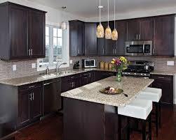 Dark Cabinets With Light Floors Love The Stone Floor Color And Pattern Dark Kitchen Cabinets With