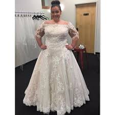 plus size bridal gowns plus size wedding dresses 2017 lace the shoulder half sleeves