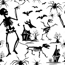 Halloween Skeleton Pattern by Pattern Black And White Silhouette Skeleton Bat Chicken