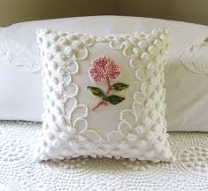 one rose vintage chenille pillow cover u003c3 shabby chic cottage pink