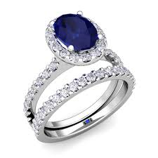sapphire wedding rings images Halo bridal set diamond sapphire engagement ring 18k gold 9x7mm jpg
