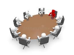 table ronde de bureau homme 3d s asseyant à une table ronde et ayant la réunion d