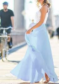 light blue patchwork grenadine lace tiered round neck maxi dress