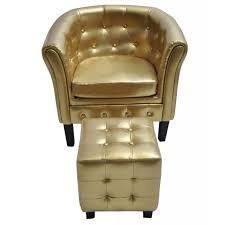 Tub Armchair Artificial Leather Tub Chair Armchair With Footrest Gold Vidaxl Com