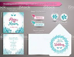 romantic wedding invitation set square pocket and insert card