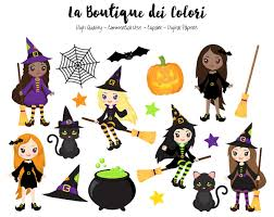 halloween witches clipart cute digital illustrations png