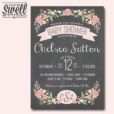 pretty feminine chalkboard floral pink bridal or baby shower